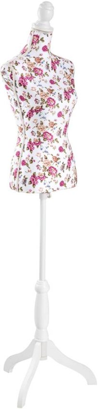 TecTake - Paspop Damesbuste wit rozen -hoogte verstelbaar - 402567