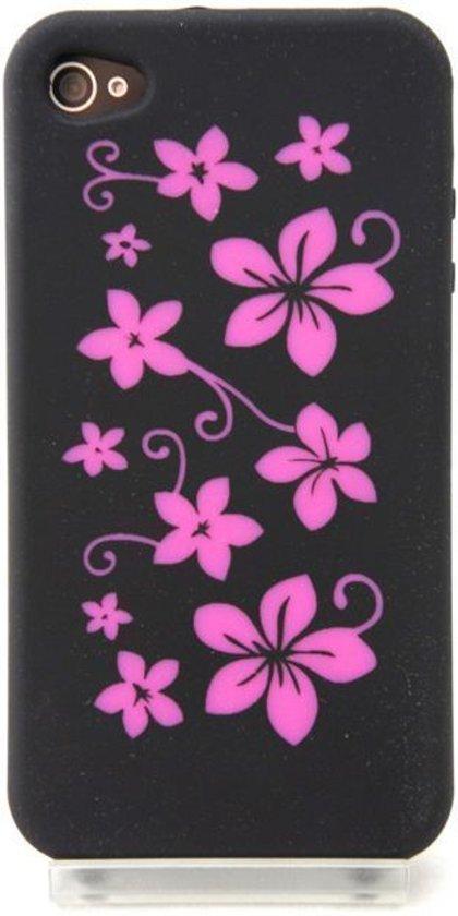 Zacht rubberen zwarte backcase met roze bloemen voor iPhone 4 en 4S