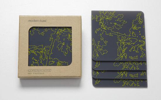 Modern Twist Notz Onderzetter Meadow - Charteuse on Grey - Set van 4 stuks
