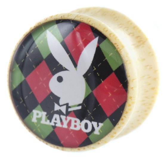 Playboy Bunny Rood / Groen Print Saddle Wood Plug - 14 mm (per paar)