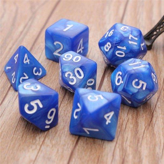 7-delige Polydice / dobbelstenen Set voor dungeons & dragons | Marmer Blauw