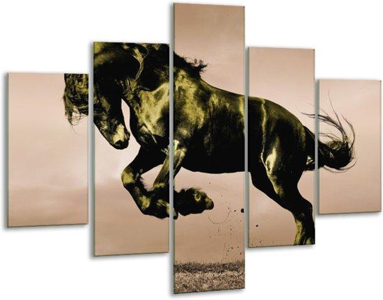 Glasschilderij Paard | Bruin, Groen, Zwart | 100x70cm 5Luik | Foto print op Glas |  F002668