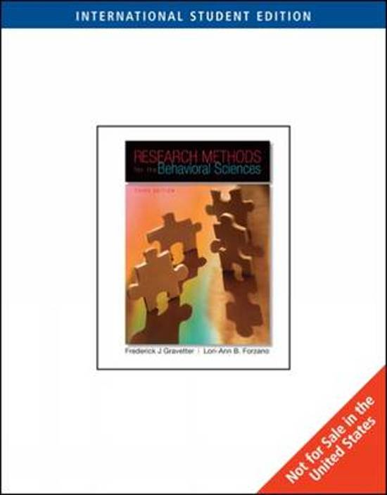 Boek cover Research Methods for the Behavioral Sciences van Frederick J Gravetter (Paperback)