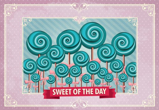 Fotobehang Cupcakes Pink Retro   M - 104cm x 70.5cm   130g/m2 Vlies