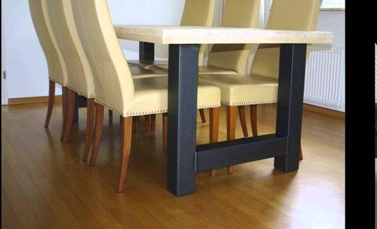 Eettafel Industrieel | H-poot-recht-blank | 40mm-boomstam-220x100-charcoal