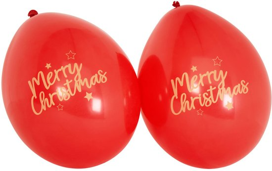 Neviti 'Merry Christmas' kerst ballon rood Ø 28 cm - Set-8 Valentinaa