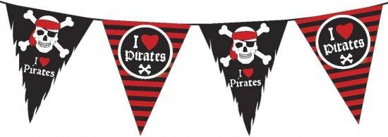 Vlaggenlijn piraten zwart met rood