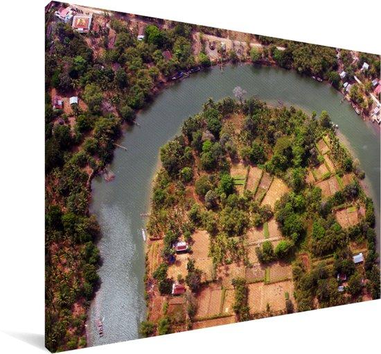 Rijstvelden aan de Jeneberang rivier bij Makassar in Indonesië Canvas 180x120 cm - Foto print op Canvas schilderij (Wanddecoratie woonkamer / slaapkamer) XXL / Groot formaat!