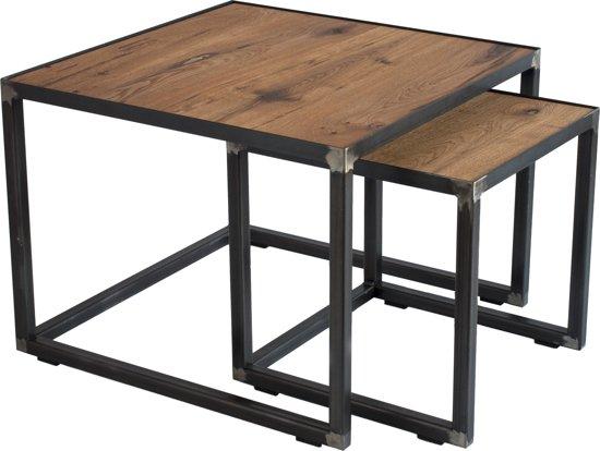 Bijzettafel Vierkant Eiken.Spinder Design John Salontafel Set 60x60x46 40x40x40 Blacksmith Eiken
