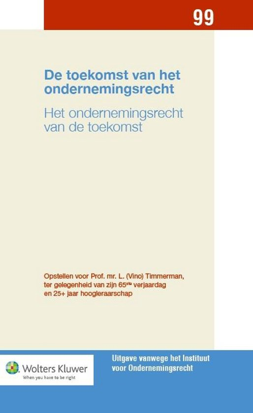 Boek cover De toekomst van het ondernemingsrecht van  (Onbekend)
