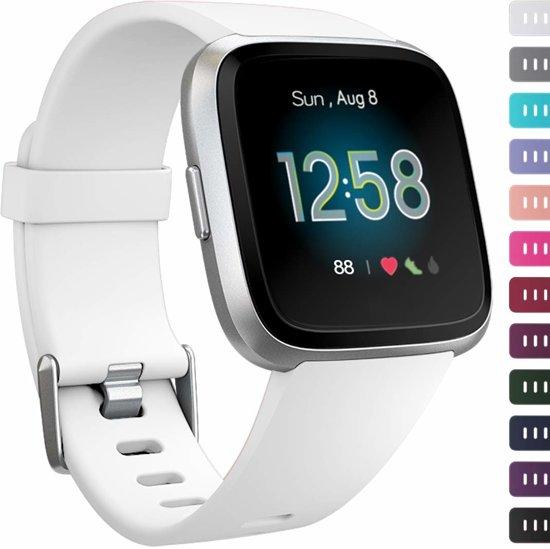 123Watches.nl Siliconen bandje - Fitbit Versa (Lite) - Wit - M/L