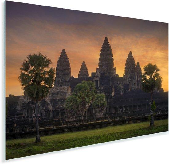 Zonsopgang bij de Tempel van Angkor Wat Cambodja Plexiglas 180x120 cm - Foto print op Glas (Plexiglas wanddecoratie) XXL / Groot formaat!
