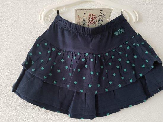 Knot so Bad-meisjes-rok/strokenrok-kleur: blauw/groen met hartjes-maat 122-128