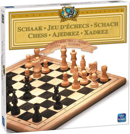 Schaken Hout - King Schaakspel - Schaakbord met Houten Schaakstukken