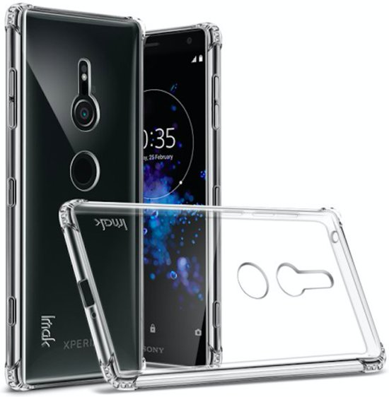 Anti-drop TPU Case Cover + Screen Protector voor Sony Xperia XZ2 - Transparant