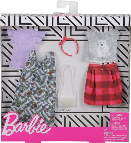 Barbie Kledingsetje Ruiten- en Natuurmotief - Set van 2 Outfits