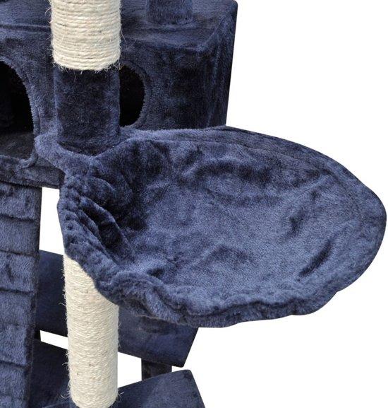 Krabpaal Tommie - 220/240 cm 3 huisjes donker- Blauw