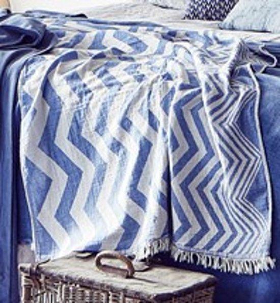 Hammam-34 hamamdoek The Great Escape Blauw met wit 90x170cm