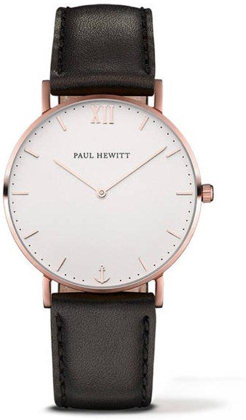 Paul Hewitt Sailor Line White Sand IP - Horloge - Leer - Zwart - 36mm
