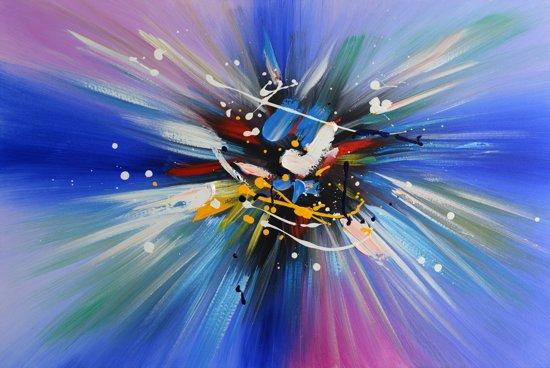 Schilderij abstract blauw 90x60 Artello - Handgeschilderd