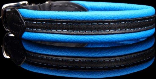 Dog's Companion® - leren halsband - Soft/duo - 43-47 cm x  20 mm - Blauw