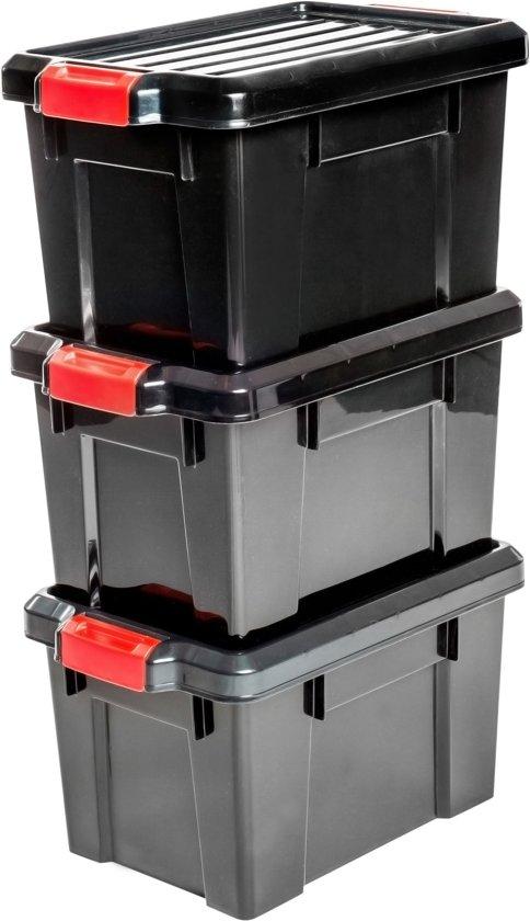 IRIS Powerbox Opbergbox - 21L - Kunststof - Zwart/Rood - 3 Stuks