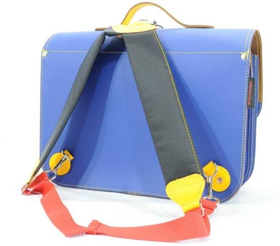 8e9dcf6d2ae bol.com   Lederen boekentas / boekentas cobalt blauw met geel   Own ...