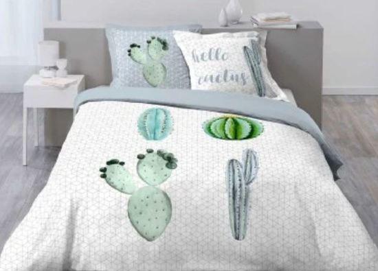 Cactus dekbedovertrek - Hello Cactus - tweepersoons met 2 kussenslopen - 100% katoen