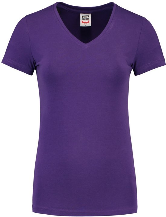 Tricorp Dames T-shirt V-hals 190 grams - Casual - 101008 - Paars - maat M