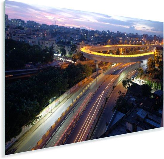 Viaduct in Dhaka in de nacht Plexiglas 60x40 cm - Foto print op Glas (Plexiglas wanddecoratie)