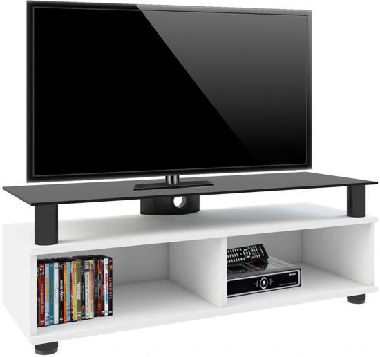 Tv Meubel Tv Kast Clunis Premium Verrijdbaar Witte Lak Zwart Glas