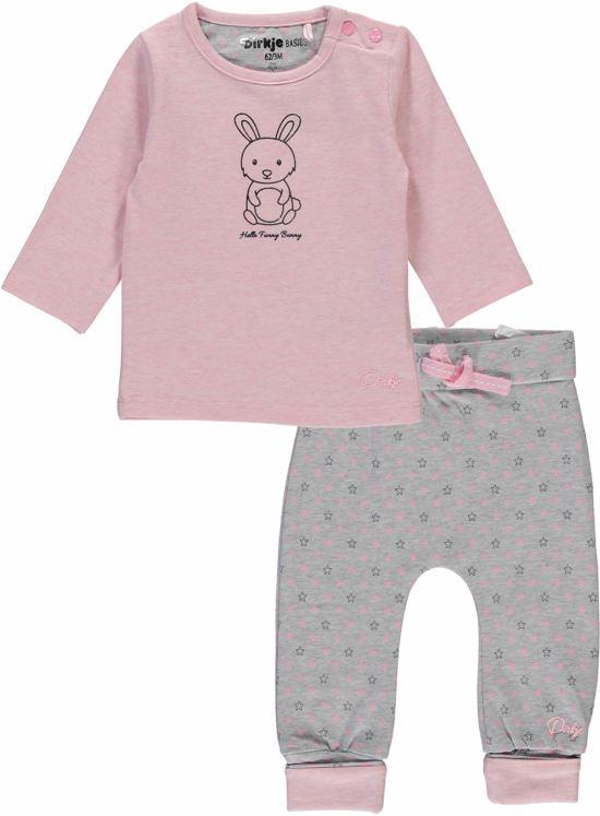 Dirkje Basics Meisjes Set (2delig) Lichtroze Shirt met Broek Grijs - Maat 62