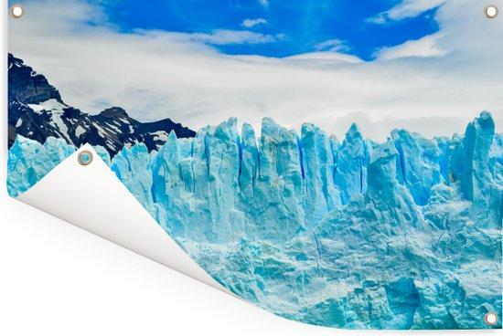 Detail van de Perito Moreno gletsjer met een blauwe hemel Tuinposter 180x120 cm - Tuindoek / Buitencanvas / Schilderijen voor buiten (tuin decoratie) XXL / Groot formaat!