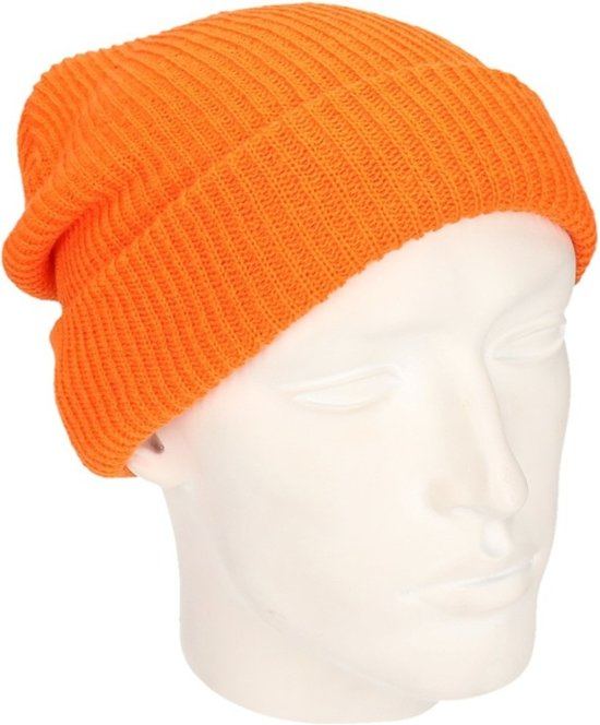 4031ab6e0d5 Basic beanie muts lang oranje voor heren