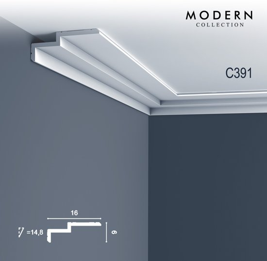 kroonlijst orac decor c391 modern steps indirecte verlichting sierlijst modern design wit 2m