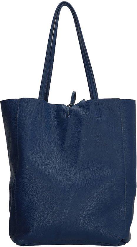8468b04d4e0 Charm Italiaanse leren Shopper Dames | Zeer soepel leer | Donkerblauw