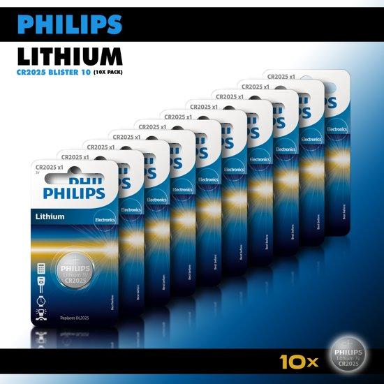 Philips Lithium Knoopcel batterijen CR2025 - Knoopcellen 150 mAh - CR2025 3V - 10 stuks
