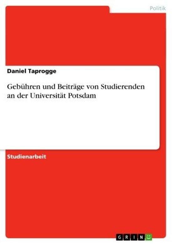 Gebühren und Beiträge von Studierenden an der Universität Potsdam