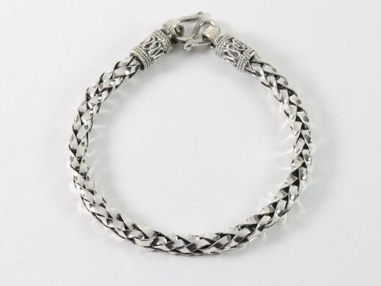 Gevlochten zilveren schakelarmband - 18 cm