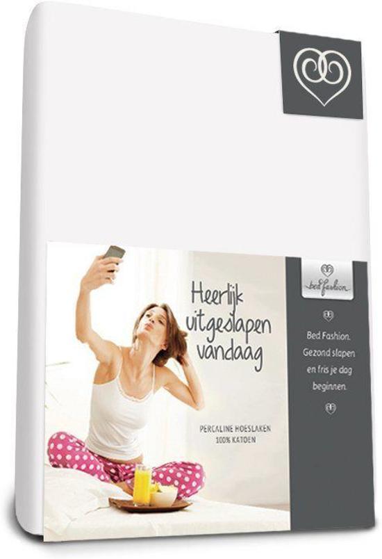 Bed-Fashion katoenen hoeslaken Wit - 180 x 210 cm - Wit