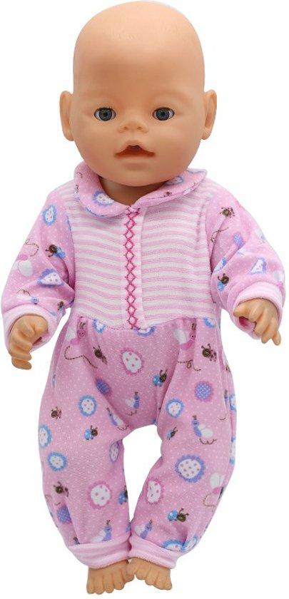 Onesie/Pyama voor babypop, past op poppen van 40-45 cm zoals Baby Born. Roze pyjama/romper