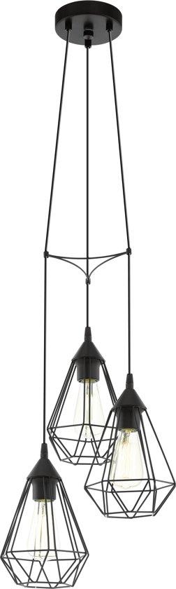 EGLO Vintage Tarbes - Hanglamp - Draadlamp - 3 Lichts - Ø310mm. - Zwart