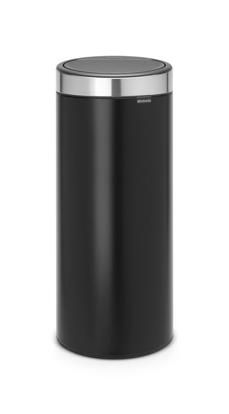 Brabantia Touch Bin 30 Liter Mat.Brabantia Touch Bin New Prullenbak 30 L Matt Black Met Matt Steel Fingerprint Proof Deksel