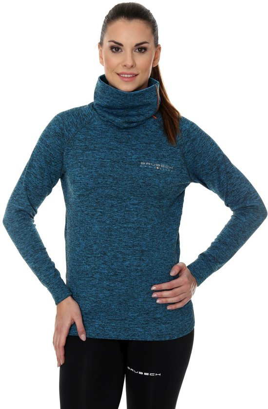 Brubeck | Dames Outdoor Trui / Sweater - outdoortrui - Turquoise Melange - Maat XL