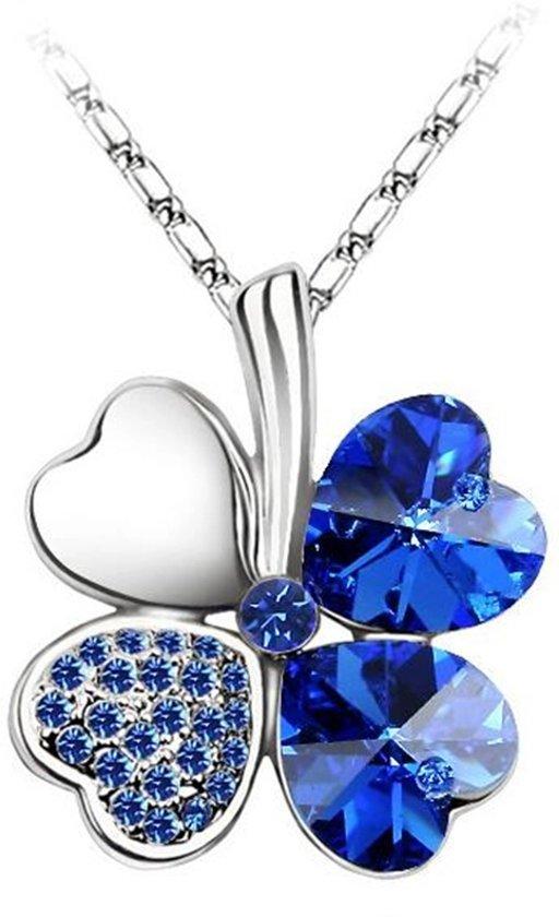 Klaver 4 Hart ketting Blauw, Valentijn
