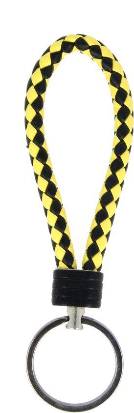 Sleutelhanger | Handgemaakte Geel Zwart Gevlochten Geweven Sleutelhanger| Mode| Auto Sleutelhanger Geel Zwart Geblokt Geruit | Huissleutel | Metalen Sleutelhangers| Sleutelhanger Mannen of Vrouwen | Fietssleutel | Goedkope Sleutelhanger