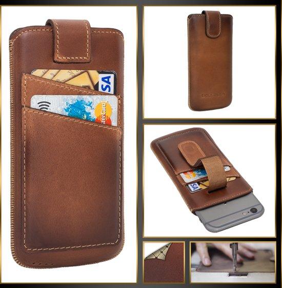 Bouletta Lederen iPhone 7/8 Case - insteekhoes met vakjes - Burned Cognac