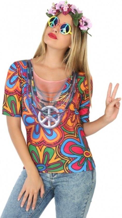hippie verkleed shirt voor dames xs s flower power t shirt merkloos speelgoed. Black Bedroom Furniture Sets. Home Design Ideas
