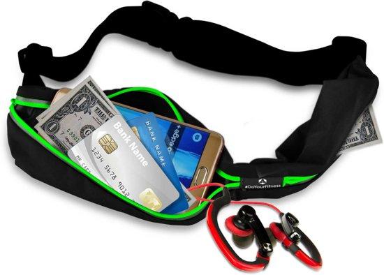#DoYourFitness - Loopriem - »Run4Fun« - heuptas / ritszak voor hardlopen ,elastisch, waterdicht - mobiele telefoon tot ca. 5,5 inch - groen