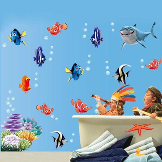 Muurstickers Kinderkamer Zee.Bol Com Muursticker Cartoon Vissen Wanddecoratie Kinderkamer